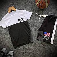 Летний спортивный костюм с лампасами Nasa черно-белого цвета (Шорты и футболка Наса) мужские размеры: 44-54