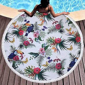 Круглый коврик на море с тропическим принтом