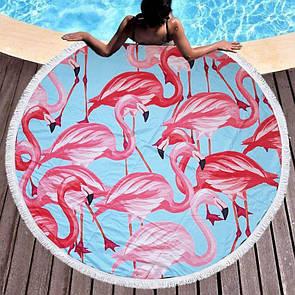 Пляжная подстилка на море с фламинго
