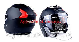 Мотошлем hf-858 черный мат (открытый/белое стекло) ls6