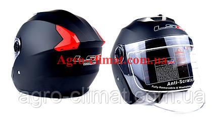 Мотошлем hf-858 черный мат (открытый/белое стекло) ls6, фото 2