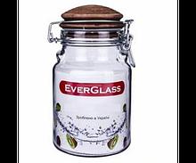 Банку EverGlass 900 мл кришка керамчна з затиском