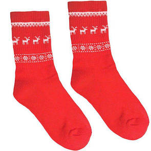 """Красные теплые носки с махровым начесом на стопе """"Олени"""" от Sunny Focks"""