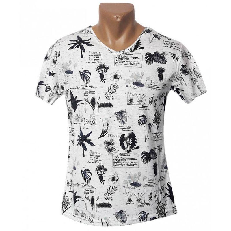 Стильная мужская футболка с растительным принтом