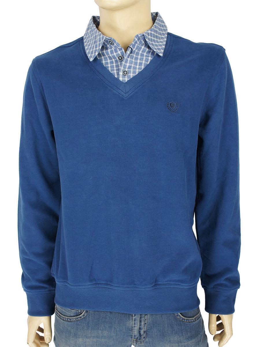 Светр-обманка чоловічий Better Life 753 синього кольору