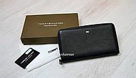 Кожаный бумажник борсетка Tommy Hilfiger мужской кошелек на одну змейку с удобной ручкой, брендовые сумки кожа