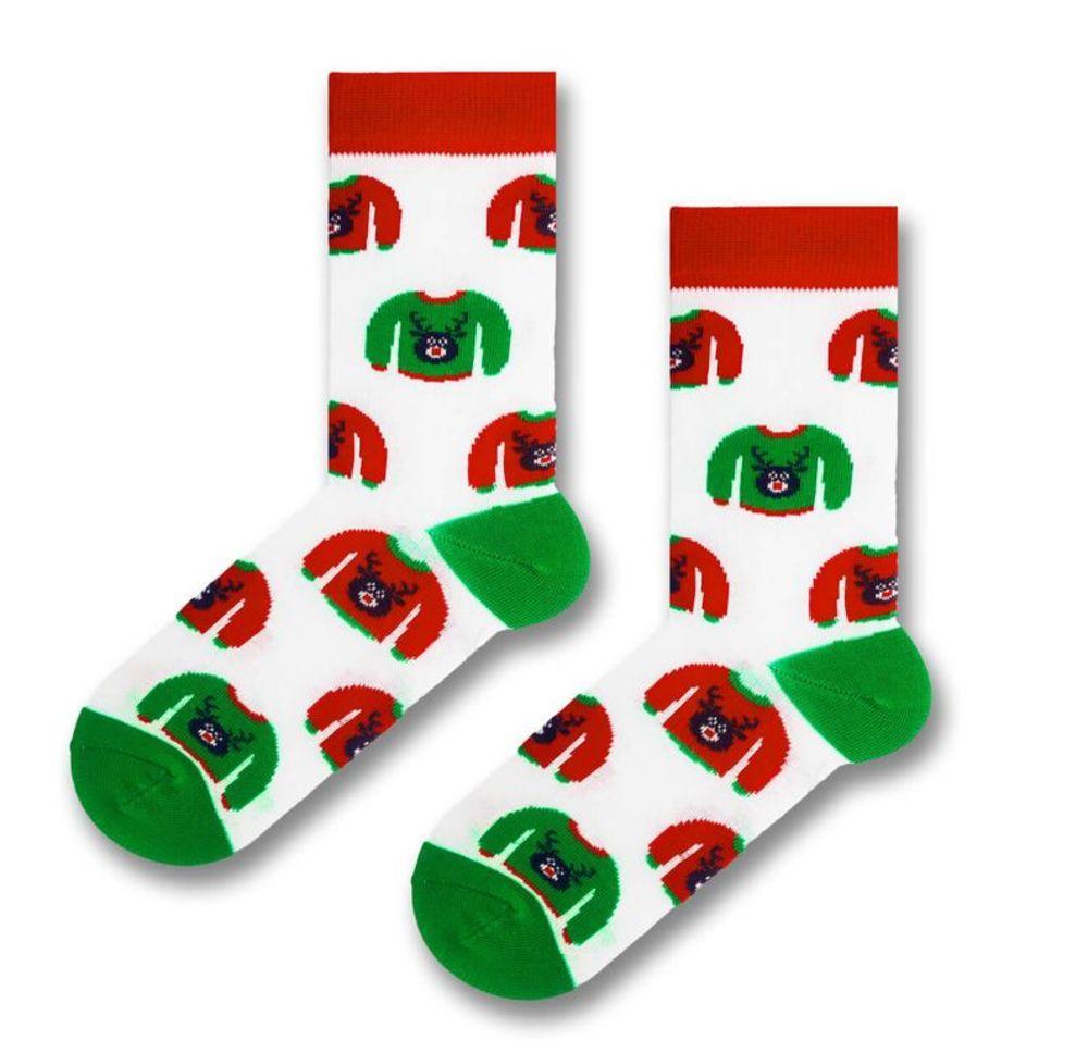 """Белые носки с зеленой пяткой и носком """"Ugly свитер"""" от SOX"""