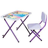 Детская парта складная для девочки (столик + стульчик) 215 Принцесы