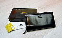 Кожаный бумажник борсетка Giorgio Armani мужской кошелек глянцевый на одну змейку сзади ручка, брендовые сумки