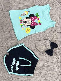 Комплект для девочки на лето Микки маус ткань коттон