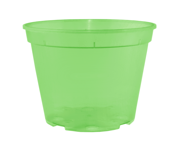 Вазон дренажний 11*8 см; 0,55 л (салатовий-прозорий)