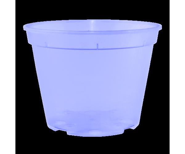Вазон дренажний 9*6,5 см; 0,28 л (фіолетовий-прозорий)