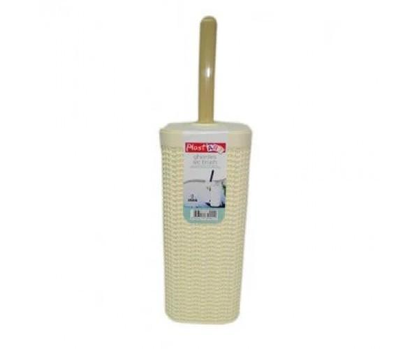 Йорж - комплект для унітазу Irak plastik В'ЯЗКА (молочний)