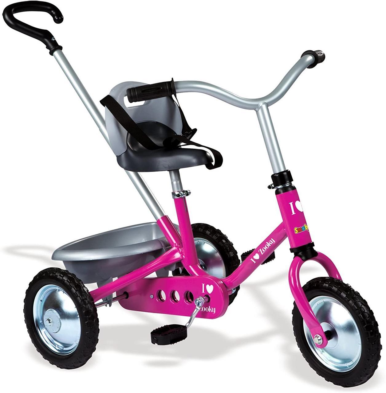 """Детский металлический велосипед """"Зуки"""" с багажником, розовый Smoby 454016"""