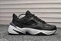 Кроссовки мужские Nike Tekno черные, Найк Текно, натуральная кожа, сетка, прошиты. Код TD-9118