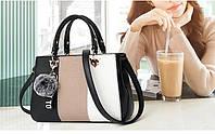 Стильная Женская сумка с меховым брелком, фото 1