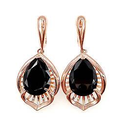 Сережки SONATA з медичного золота, чорні фіаніти, позолота PO, 22855 (1)