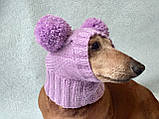 Шапка для собаки с двумя помпонами одежда для собак, фото 3