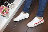 Кеди жіночі білі з червоними вставками Т1050, фото 6