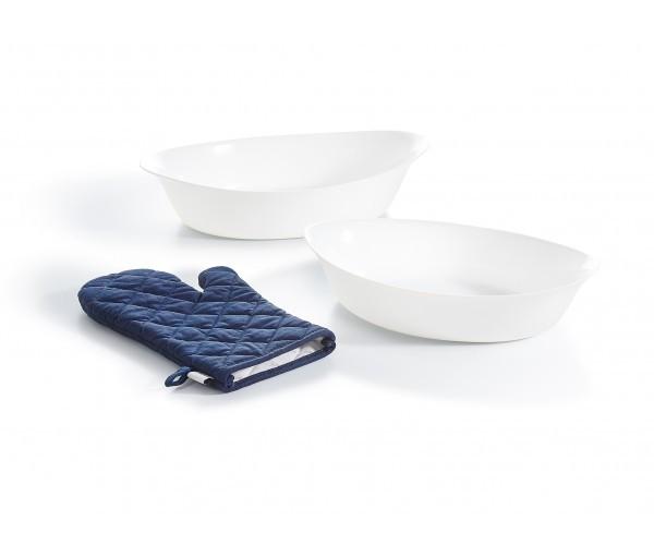 Набір форм для запікання Luminarc Smart Cuisine овальних (32*20 см,38*23 см)+рукавичка-прихватка-3пр