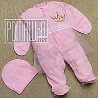 Нарядный летний человечек р 56 0-1 мес комбинезон с юбкой костюмчик на выписку для девочку МУЛЬТИ 4684 Розовый