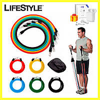 Эспандер для фитнеса / Резинки для тренировок / Набор - Комплект из 5 штук + Наушники Airpods в Подарок