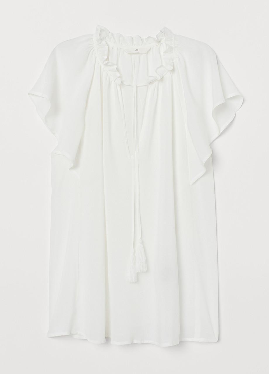 Белая однотонная блузка H&M летняя