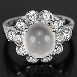 Серебряное кольцо с розовым кварцем, 10*9 мм., 2356КЦР