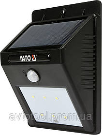 Світильник вуличний, сонячний, акумулятор.- 3,7 В, 900мАг з датчиком руху- 3м, світл. P= 120 lm, YT-81856 YATO