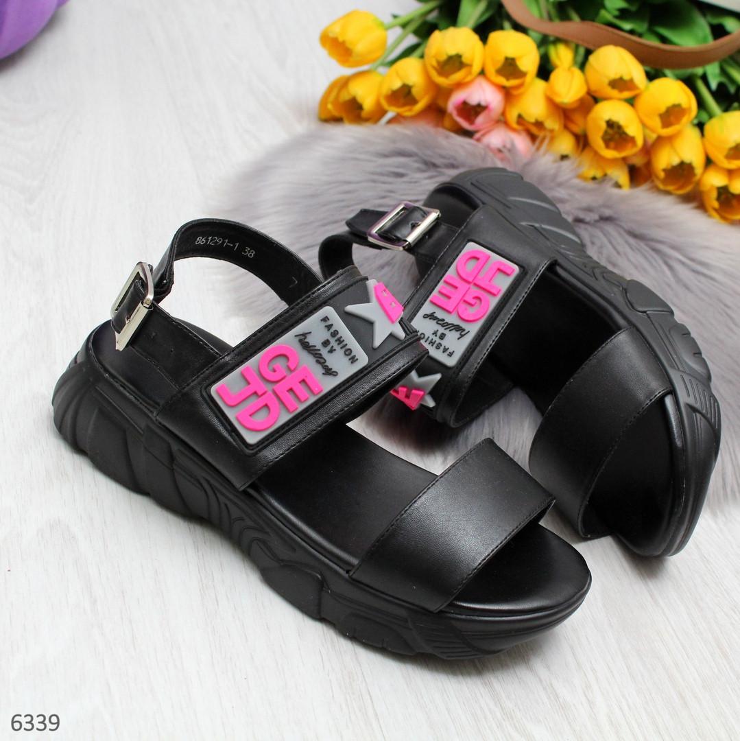 Женские черные босоножки на платформе, экокожа