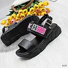 Женские черные босоножки на платформе, экокожа, фото 2