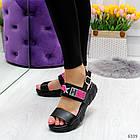 Женские черные босоножки на платформе, экокожа, фото 6
