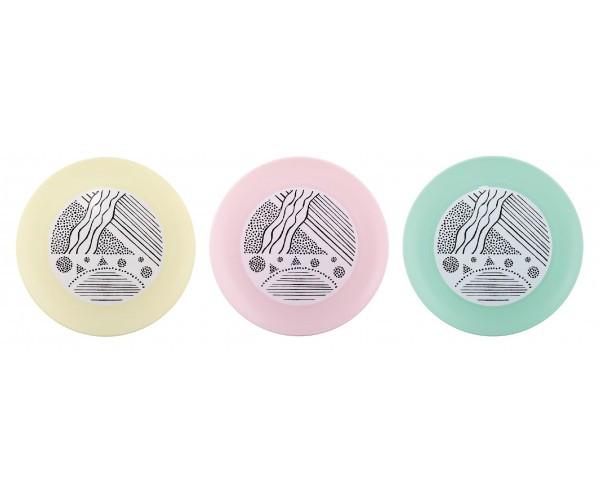 Набір з 14-ти тарілок підставних 22*22*2см з декором Lines (колір мікс)