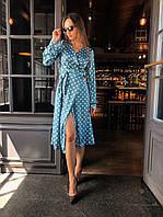 Блакитна сукня на запах плаття в горошок з поясом довгий рукав / платье на запах в горошек длинный рукав