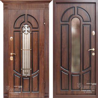 Дверь входная металлическая ABWEHR,303 Zariella + ковка,Prestige, Kale,Дуб темный + патина,860х2050,левая