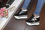 Сникерсы кроссовки женские черные с белыми вставками Т1024, фото 5