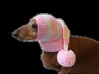 Одежда для собаки ручной работы шапка Санты с помпоном