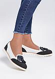Туфли лоферы женские белые с черным Т1047, фото 5