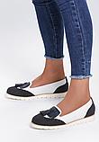 Туфли лоферы женские белые с черным Т1047, фото 9