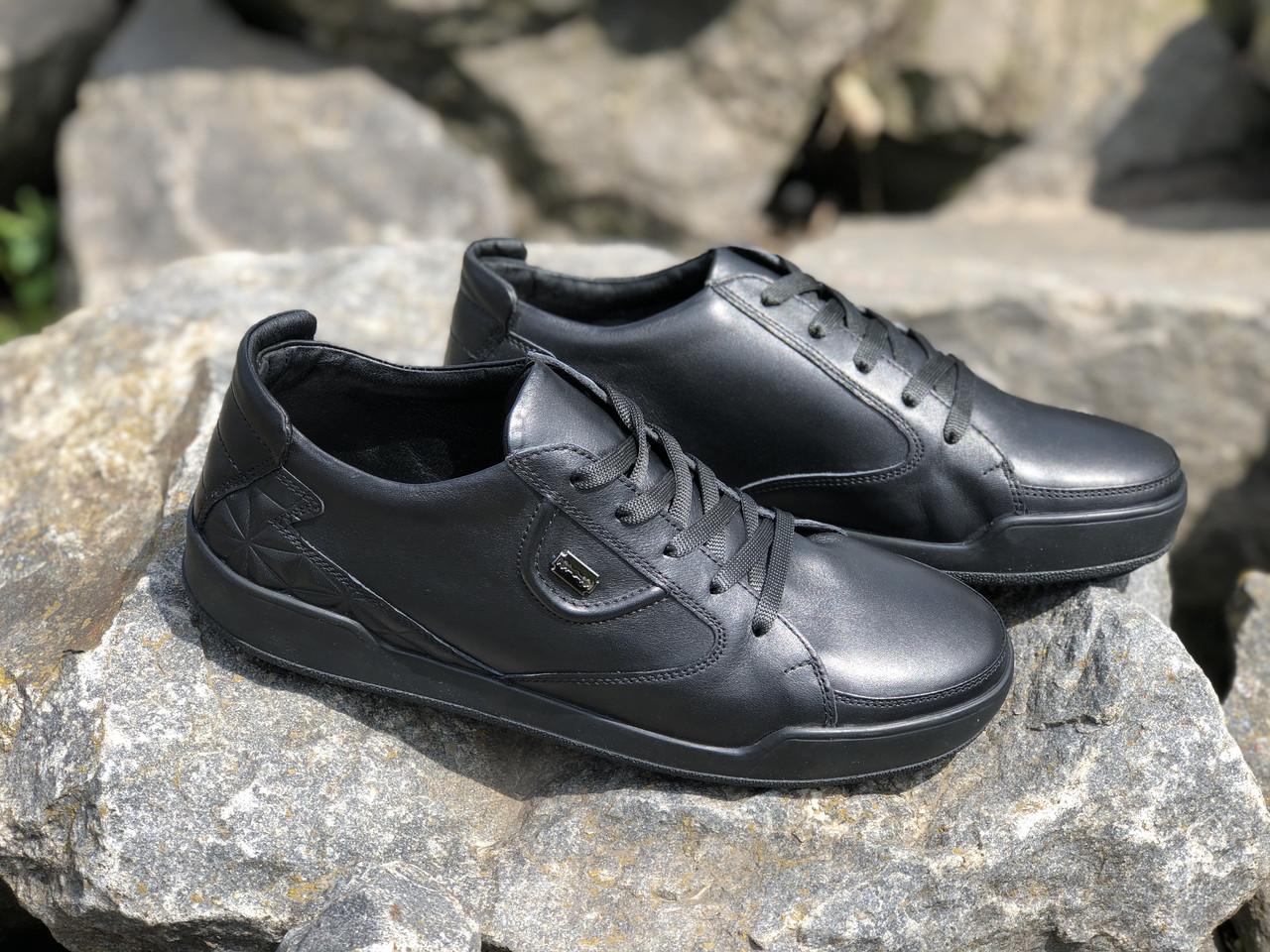 Кроссовки кожаные мужские  19129 чер 42-45 размеры