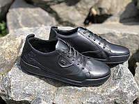 Кроссовки кожаные мужские  19129 чер 42-45 размеры, фото 1