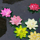 Цветок Лотоса декоративный плавающий большой 27 х27х7 см(водяная лилия) желтый, фото 3