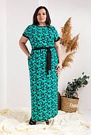 Нарядное приталенное платье в пол  с карманами с коротким рукавом в стильный цветочный принт