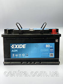 Автомобильный аккумулятор EXIDE EFB EL800 80Ah R+