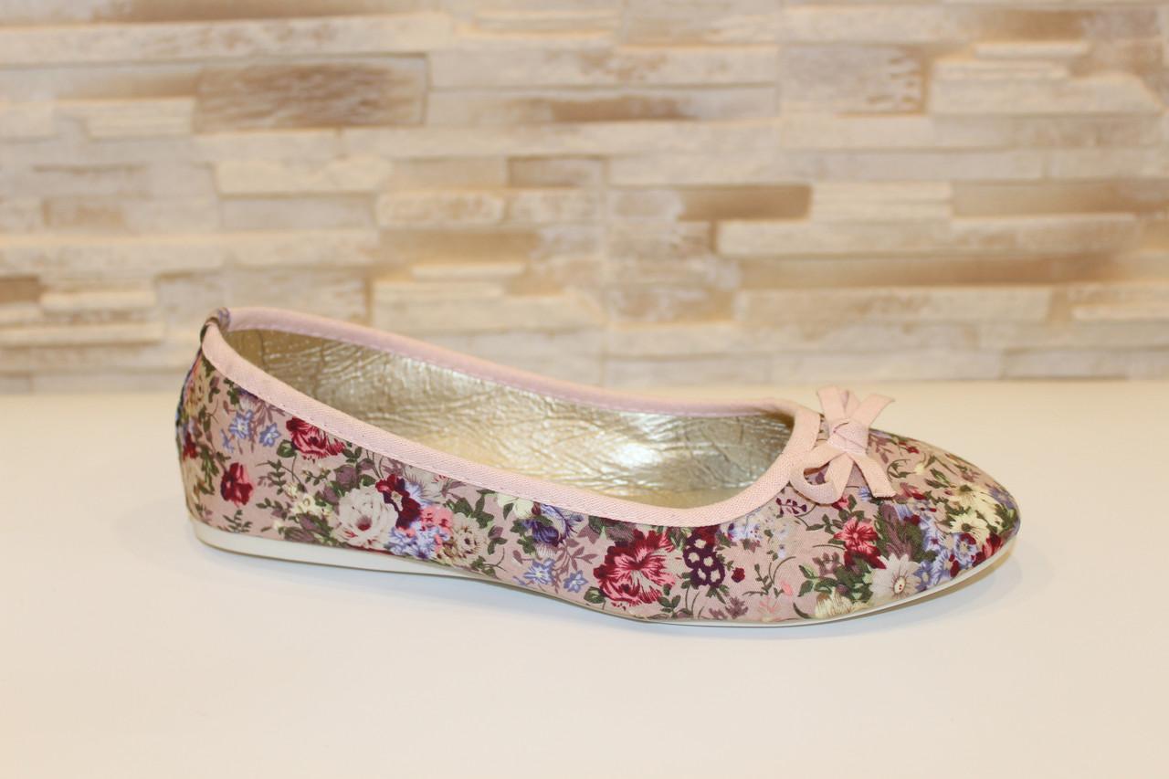 Балетки женские розовые в цветочек Т1038