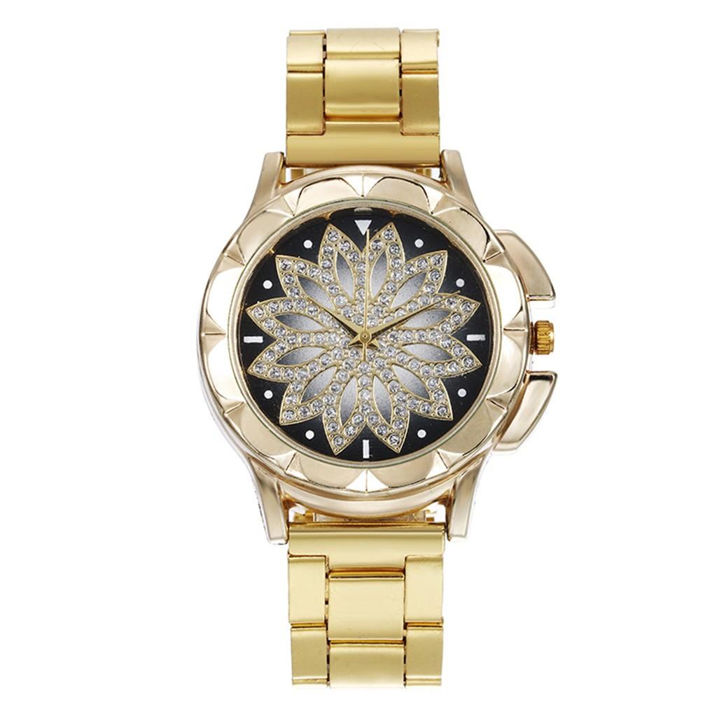 Наручные женские часы с золотистым ремешком код 451