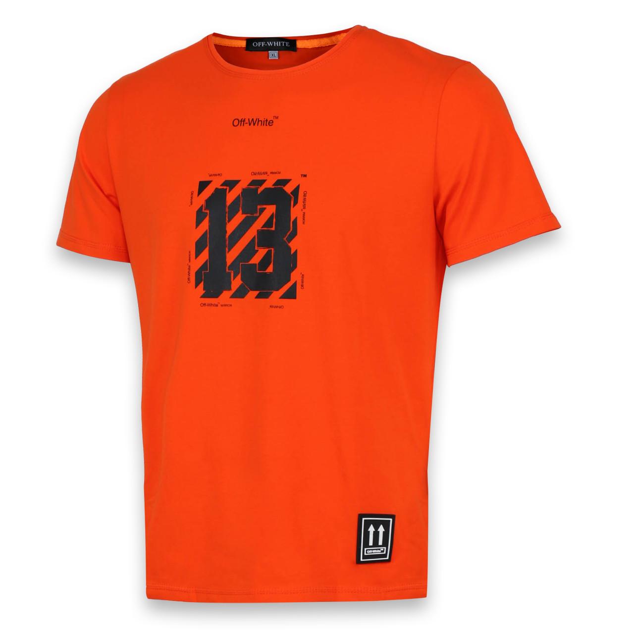 Футболка мужская оранжевая с принтом OFF-WHITE №13 Ф-10 ORN L(Р) 19-651-020-001