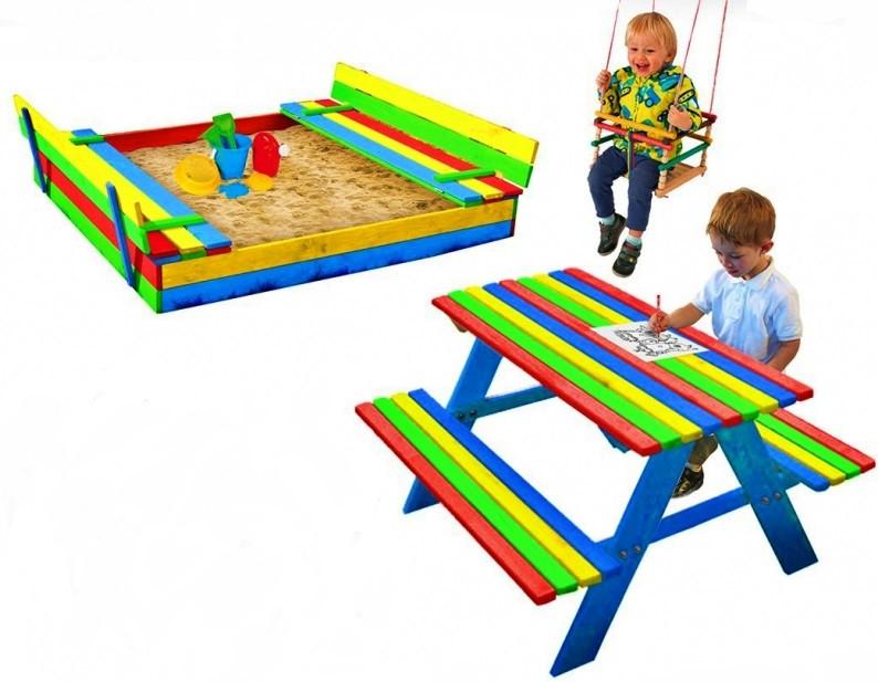 Набор Just Fun песочница 150х154 + стол со скамейками+качели KS (Набір пісочниця + Стіл з лавками + гойдалка)