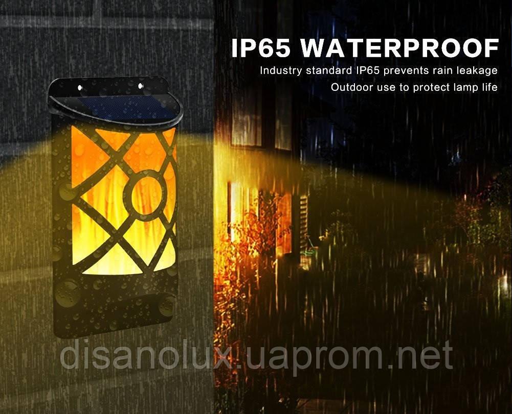 LED светильник настенный на солнечной батарее NL- 3W пламя (VS-109079) IP65