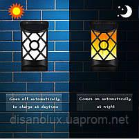 LED светильник настенный на солнечной батарее NL- 3W пламя (VS-109079) IP65, фото 2